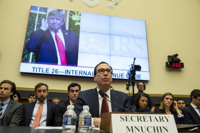 Treasury Secretary Steven Mnuchin acknowledged for the first time on Tuesday that White House and Treasury lawyers held informational conversations concerning Democrats' requests for President Donald Trump's tax returns. Photo by Tasos Katopodis/UPI