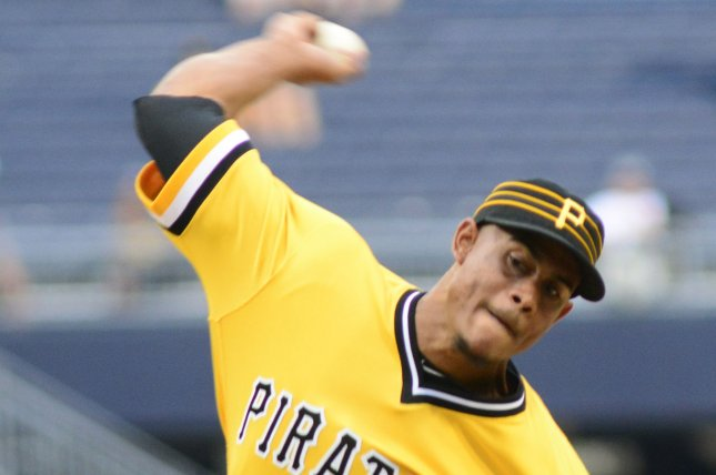 Pittsburgh Pirates relief pitcher Edgar Santana will miss the entire 2020 season and 20 games of next season due to his suspension for using a performance-enhancing drug. File Photo by Archie Carpenter/UPI