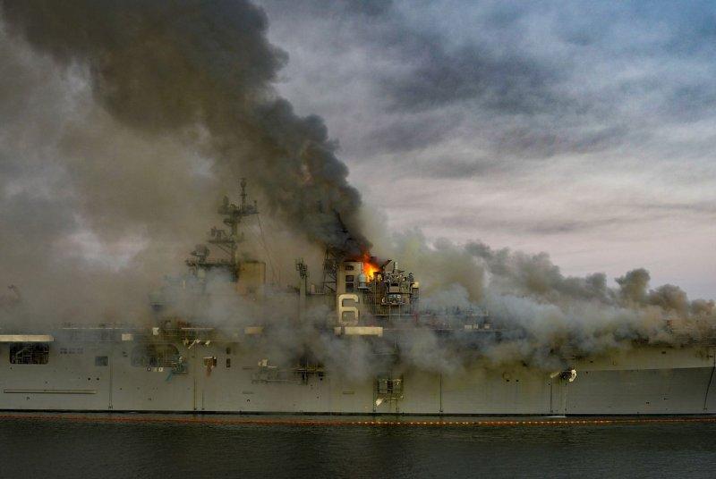 A fire burns onboard USS Bonhomme Richard at Naval Base San Diego July 12. Photo by MC2 Austin Haist/U.S. Navy