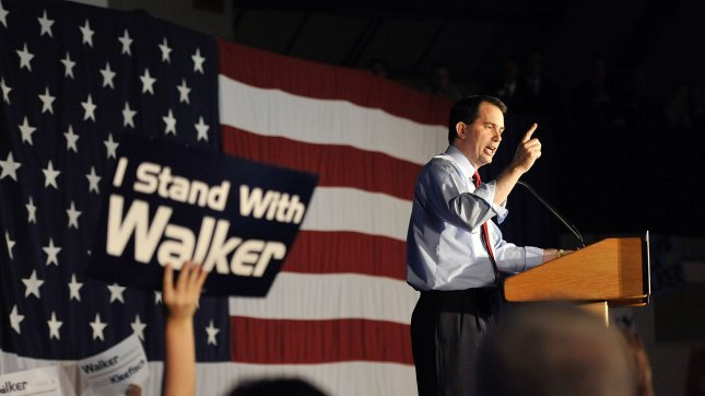 Republican Gov. Scott Walker speaks to supporters at an election night rally on June 5, 2012 in Waukesha, Wisconsin. Walker, who was opposed by Democratic Milwaukee Mayor Tom Barrett, is only the third governor in U.S. history to face a recall election and defeated Barrett by a wide margin. UPI/Brian Kersey