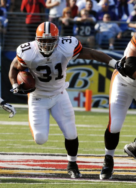 Jamal Lewis (31), then with the Cleveland Browns, in Baltimore, Sept. 21, 2008. (UPI Photo/Alexis C. Glenn)