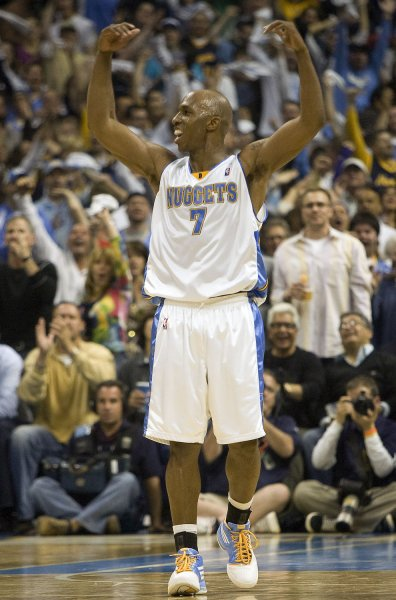 Denver Nuggets point guard Chauncey Billups, shown during a game against New Orleans April 19, 2009. (UPI Photo/Gary C. Caskey)