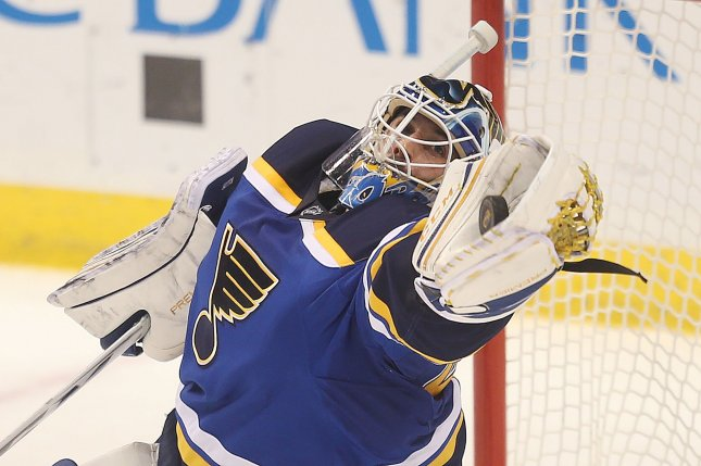 St. Louis Blues goaltender Carter Hutton stopped all 26 shots he faced and received goals from forwards Paul Stastny and Kenny Agostino to lead the Blues to a 2-0 win over the Philadelphia Flyers on Monday night at the Wells Fargo Center. File Photo by BIll Greenblatt/UPI