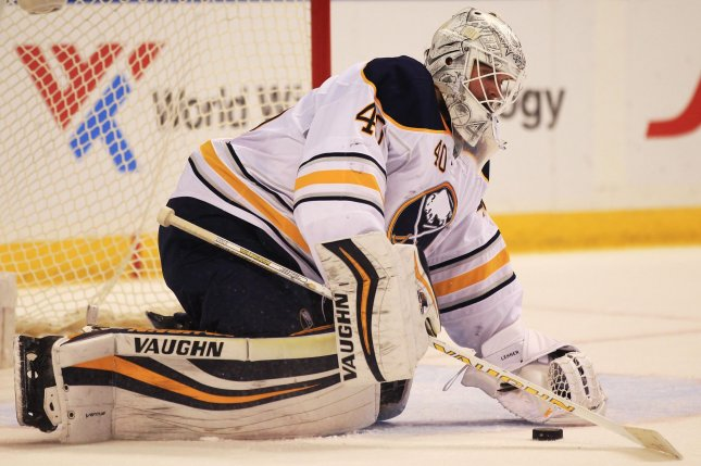 Robin Lehner stopped the 35 shots he faced as the Buffalo Sabres recorded a 2-1 victory over the Detroit Red Wings. File Photo by Bill Greenblatt/UPI