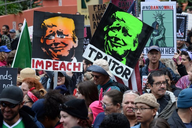 Demonstrators gather in Los Angeles to protest President Trump's immigration policies on February 18. This week, U.S. District Court Judge Gonzalo Curiel was assigned a key immigration case involving the deportation of a legally protected immigrant. File Photo by Jim Ruymen/UPI