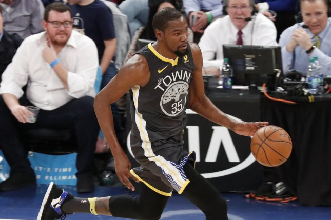 Kevin Durant and the Golden State Warriors face the Portland Trail Blazers on Thursday. Photo by John Angelillo/UPI
