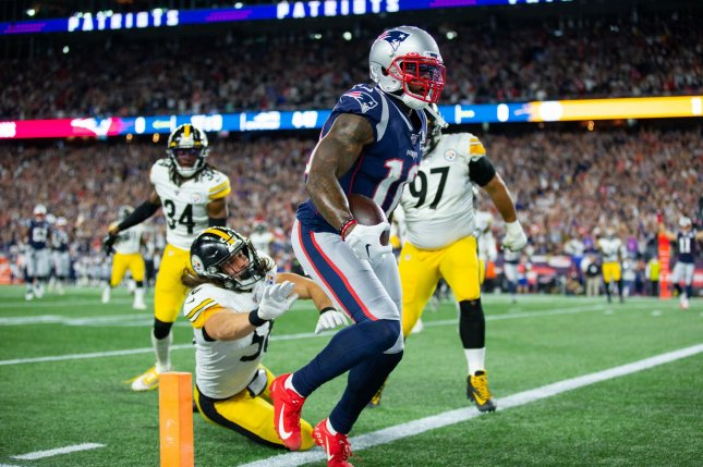 New England Patriots wide receiver Josh Gordon had been playing through a knee injury before being knocked out of the team's win over the New York Giants on Oct. 10. He was placed on injured reserve. File Photo by Matthew Healey/UPI
