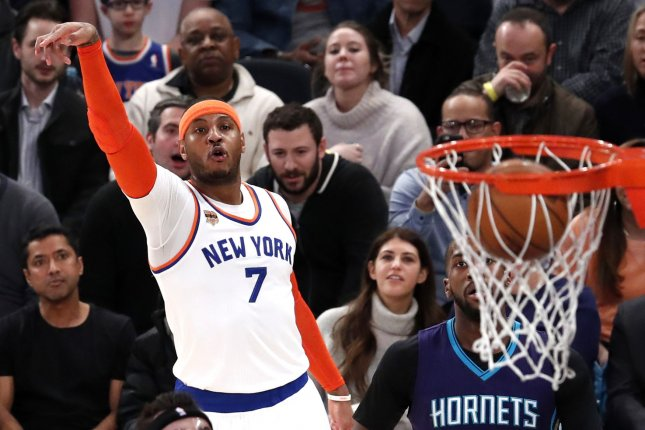 Former New York Knicks forward Carmelo Anthony last earned Player of the Week honors in March 2014, while he was a member of the Knicks. File Photo by John Angelillo/UPI