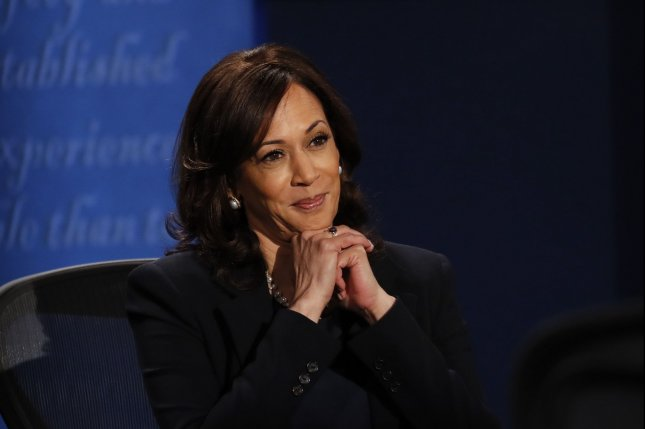 Sen. Kamala Harris participates in the vice presidential debate October 7 at the University of Utah in Salt Lake City. The vice presidential candidate turns 56 on October 20. File Pool Photo by Kim Raff/UPI