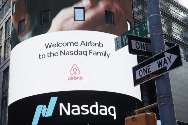 The Airbnb logo is displayed outside at the Nasdaq Exchange in Times Square in New York City. File Photo by John Angelillo/UPI