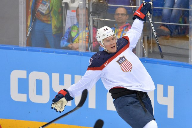 USA forward Paul Stastny (26) celebrates after scoring against Slovakia goaltender Jaroslav Halak in the second period at the Sochi 2014 Winter Olympics on February 13, 2014 in Sochi, Russia. UPI/Kevin Dietsch