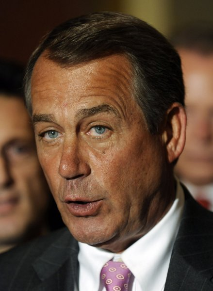 House Speaker John Boehner, R-OH, backed by other House Republicans, discusses the impasse with the Democrat-controlled Senate in passing a budget on Capitol Hill in Washington on March 29, 2011. A string of Continuing Resolutions has kept the U.S. government functioning despite the inability of Congress to pass a Fiscal Year 2011 budget. UPI/Roger L. Wollenberg