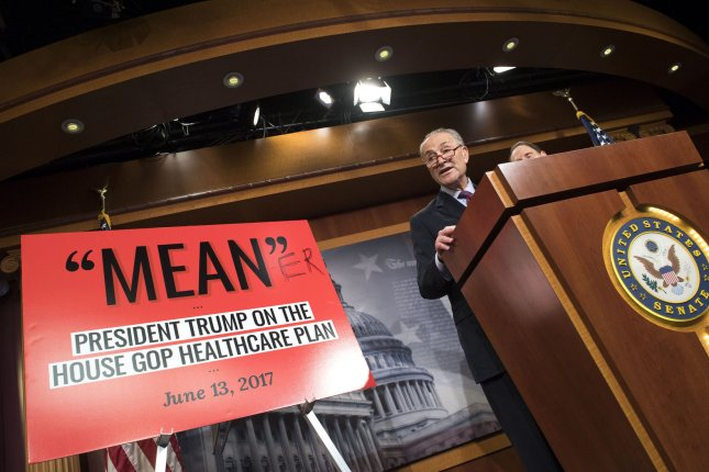 Senate Minority Leader Charles Schumer, D-N.Y., holds a press conference to speak out against the Republican healthcare bills on Thursday. Photo by Kevin Dietsch/UPI
