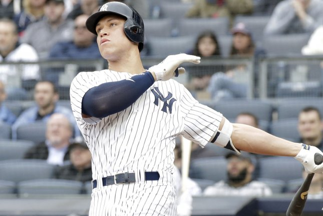 New York Yankees outfielder Aaron Judge. Photo by John Angelillo/UPI