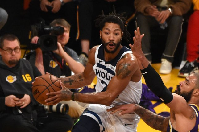 Derrick Rose and the Minnesota Timberwolves face the Memphis Grizzlies on Sunday. Photo by Jon SooHoo/UPI