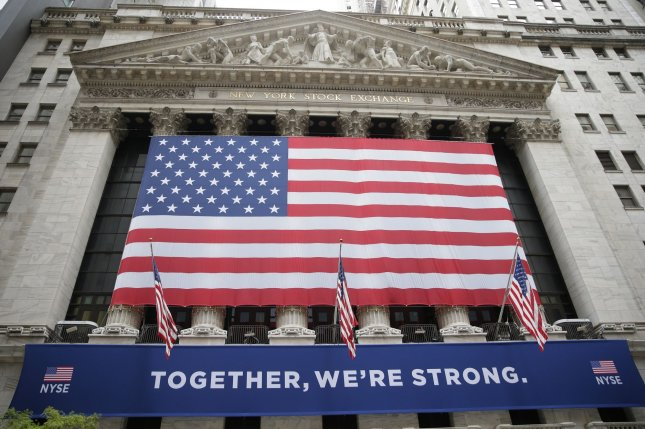 The Dow Jones Industrial Average recorded its best single monthly gain since January 1987 in November despite falling 271 points on Monday to close the month. File Photo by John Angelillo/UPI