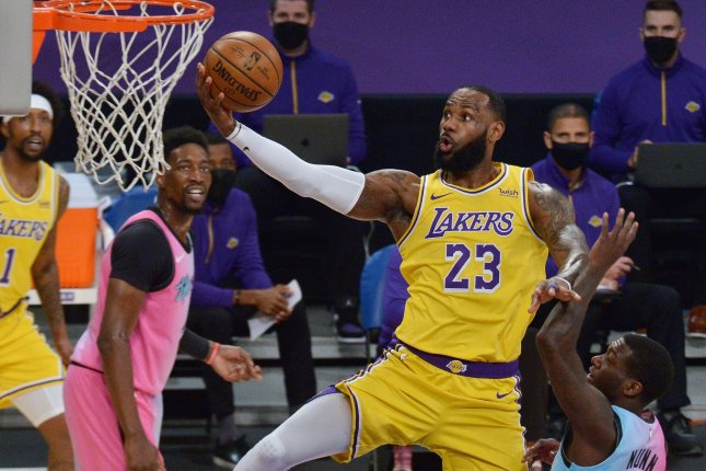 Los Angeles Lakers star LeBron James (23) went with Giannis Antetokounmpo, Stephen Curry, Luka Doncic and Nikola Jokic to start alongside him in this month's All-Star Game. File Photo by Jim Ruymen/UPI