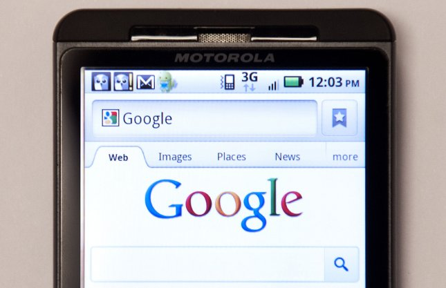 A Motorola Droid phone displays Google's homepage in Washington, D.C. on August 15, 2011. UPI/Kevin Dietsch