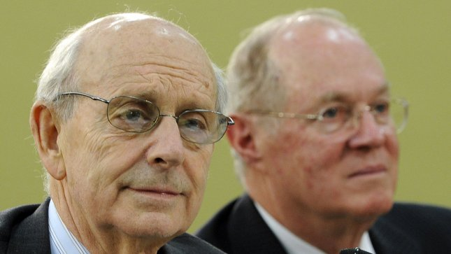 Supreme Court Justices Stephen Breyer (L) and Anthony Kennedy testify before the House Appropriations Financial Services and General Government Subcommittee on April 14, 2011. -- UPI/Roger L. Wollenberg