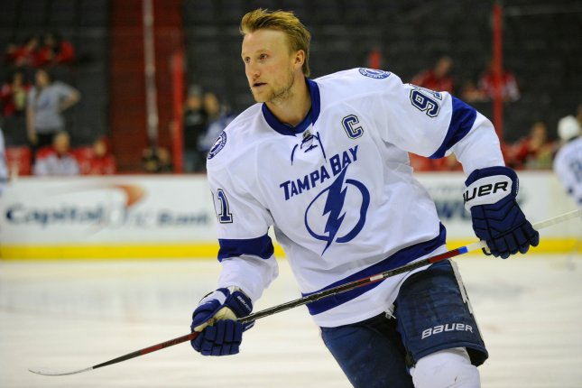 Tampa Bay Lightning center Steven Stamkos (91) warms up at the Verizon Center in Washington, D.C. on April 13, 2014. Canucks GM Jim Benning stated his desire to pursue the Lightning star forward in free agency. Photo by Mark Goldman/UPI