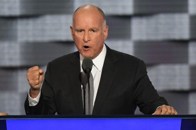 Gov. Jerry Brown, D-Calif., vetoed legislation obligating presidential candidates on the state ballot to disclose personal tax information. File Photo by Pat Benic/UPI
