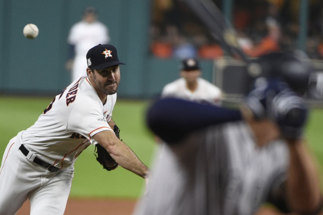 Houston Astros starting pitcher Justin Verlander throws against the New York Yankees in Game 6 of the American League Championship Series Friday at Minute Maid Park in Houston, Texas. Pool Photo by Eric Christian Smith/UPI