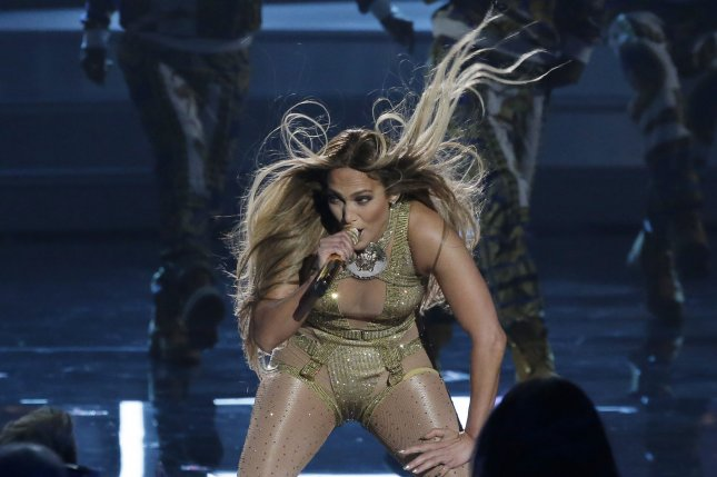 Vanguard award winner Jennifer Lopez performs during the 35th annual MTV Video Music Awards at Radio City Music Hall in New York City on Monday. Photo by John Angelillo/UPI