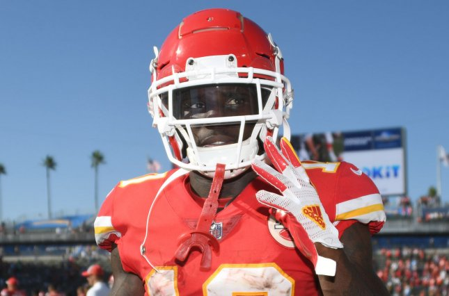 Kansas City Chiefs wide receiver Tyreek Hill walks off the field at the end of the game against the Los Angeles Chargers on September 9, 2018 at StubHub Center in Carson, California. Photo by Jon SooHoo/UPI