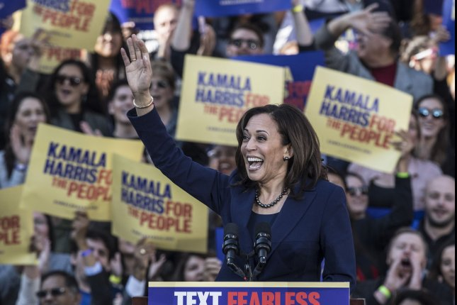 Sen. Kamala Harris, D-Calif., greets supporters at the kickoff rally for her 2020 presidential campaign at Frank Ogawa Plaza in Oakland, Calif., on Sunday. Harris was born in Oakland. Photo by Terry Schmitt/UPI