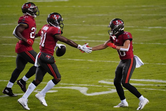 Tampa Bay Buccaneers wide receiver Antonio Brown (81) suffered a knee injury in the team's divisional-round win over the New Orleans Saints that forced him to miss the Bucs' NFC Championship Game victory over the Green Bay Packers. File Photo by Kevin Dietsch/UPI