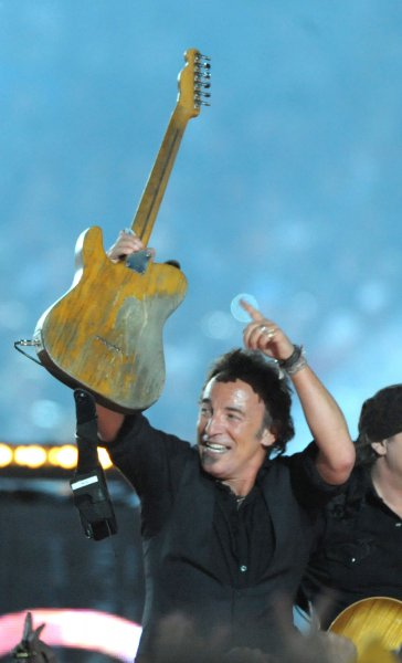 Bruce Springsteen and the E Street Band perform at the half time show during Super Bowl XLIII featuring the Arizona Cardinals vs. the Pittsburgh Steelers at Raymond James Stadium in Tampa, Florida, on February 1, 2009. (UPI Photo/Kevin Dietsch)