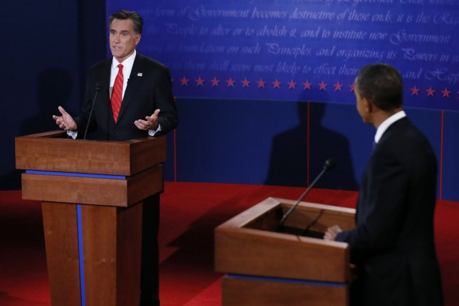 Republican Presidential Candidate Mitt Romney (L) effectively used last week's presidential debate in Denver to lay out his objectives, besting incumbent President Barack Obama. UPI/Pool