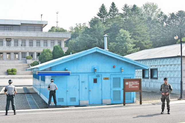 South Korean soldiers stand guard at the joint security area (JSA) of Panmunjom in the demilitarized zone near Paju, South Korea, on September 12, 2017. File Photo by Keizo Mori/UPI