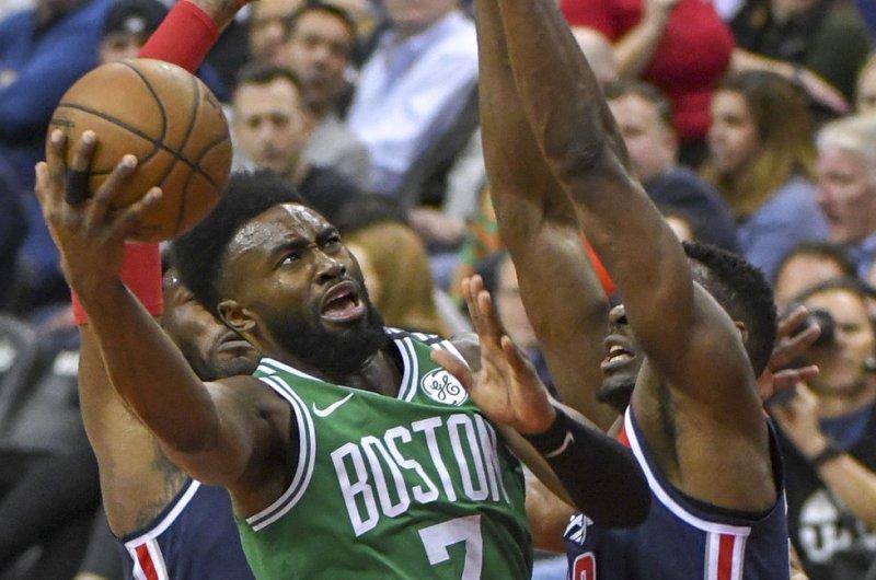 Jaylen Brown and the Boston Celtics face the Toronto Raptors on Friday. Photo by Mark Goldman/UPI