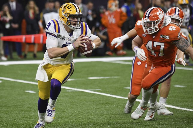 Clemson linebacker James Skalski (47) had five tackles and a sack before being ejected during the Tigers' loss to LSU in the College Football Playoff national championship Monday in New Orleans. Photo by Pat Benic/UPI