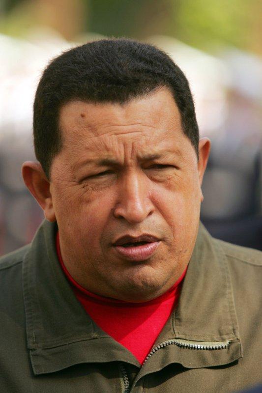 Venezuela's President Hugo Chavez attends a welcoming ceremony for himself in Tehran, Iran on April 2, 2009. (UPI Photo/Mohammad Kheirkhah)