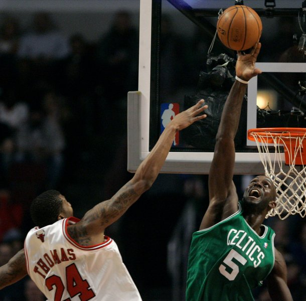 Boston's Kevin Garnett, shown here in a game last month, was voted to the NBA's all-defensive first team.
