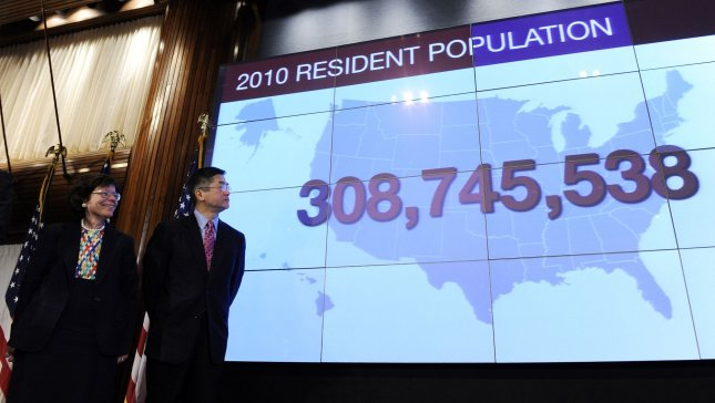 Commerce Secretary Gary Locke and acting Deputy Commerce Secretary Rebecca Blank look at a US map showing the official population of America as 308,745,538 persons during a news conference to release the first set of 2010 census data in Washington on December 21, 2010. UPI/Roger L. Wollenberg