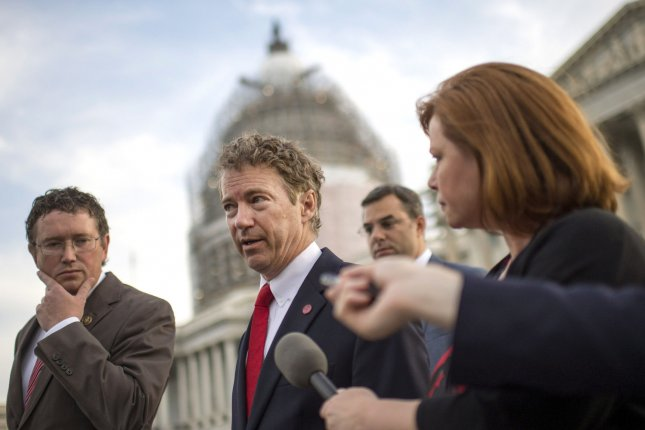 Sen. Rand Paul, R-Ky., says despite filing to run for reelection to his Senate seat, he is optimistic about his presidential bid. Photo by Kevin Dietsch/UPI