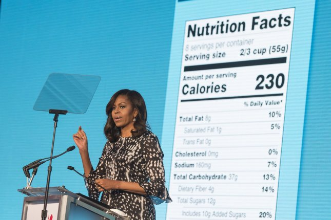 First lady Michelle Obama delivers remarks at the Partnership for a Healthier America's annual summit, in Washington, D.C. on May 20, 2016. The First Lady announced the new, modernized nutrition facts label. The new label has more realistic service sizes and lists added sugar. Photo by Kevin Dietsch/UPI