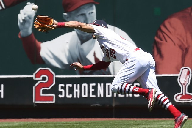 St. Louis Cardinals Tommy Pham makes a running catch on a ball hit by Denard Span in the first inning at Busch Stadium in St. Louis on May 21, 2017. Photo by Bill Greenblatt/UPI