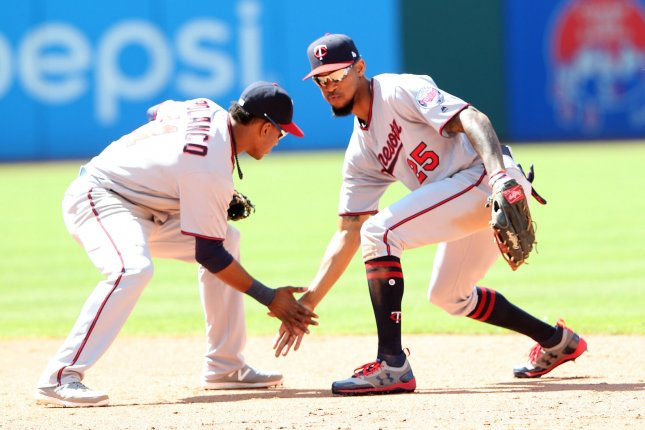 Minnesota Twins Eddie Rosario (L) and Byron Buxton celebrate after defeating the Cleveland Indians at Progressive Field in Cleveland, Ohio on June 25, 2017. File photo by Aaron Josefczyk/UPI