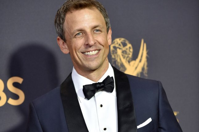 Actor Seth Meyers is hosting the 75th annual Golden Globe Awards ceremony Sunday night. File Photo by Christine Chew/UPI