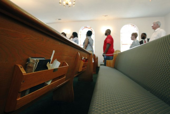 Pews inside St. John A.M.E. Church in Ridgeland, S.C. 2015. A Gallup poll released Monday said that 36 percent of respondents had confidence in the church or organized religion. Photo by Tami Chappell/UPI