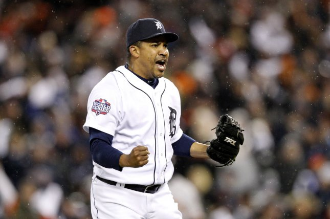 Former Detroit Tigers relief pitcher Octavio Dotel played for 13 different teams during his 15-year Major League Baseball career, the second-most in league history. File Photo by Molly Riley/UPI