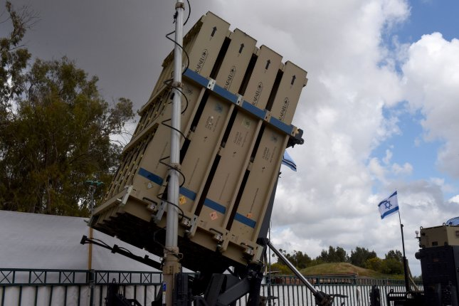 An Iron Dome aerial defense system is seen at the Hatzor Air Force base in Israel. A pair of airstrikes in Syria early Friday were blamed on Israeli forces. File Photo by Debbie Hill/UPI