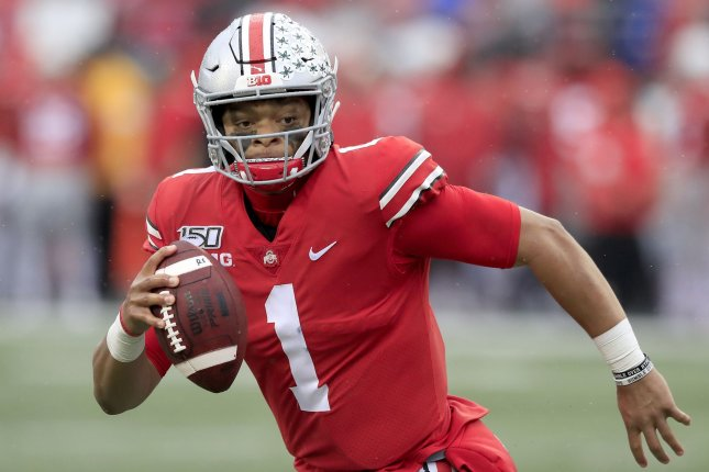 Justin Fields and the Ohio State Buckeyes are scheduled to start their fall football season on the weekend of Oct. 23 after the Big 10 reversed course on its decision to postpone the season to spring. File Photo by Aaron Josefczyk/UPI