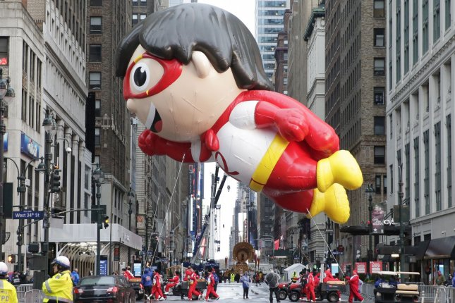 The Red Titan from Ryan's World balloon moves down 34th Street at the Macy's Thanksgiving Day Parade in New York City on Thursday. Due to the COVID-19 pandemic, the Manhattan parade route was reduced to just a few blocks of giant balloons, festive floats and performers. Photo by John Angelillo/UPI