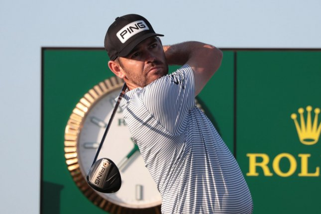 Louis Oosthuizen of South Africa drives on the 17th tee in the third round of the 2021 British Open Championship on Saturday at Royal St. George's in Sandwich, Kent. Photo by Hugo Philpott/UPI