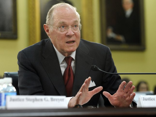 Supreme Court Justice Anthony Kennedy testifies before a House subcomimittee on the court's budget on April 14, 2011. Kennedy might be the deciding vote in same-sex marriage cases -- UPI/Roger L. Wollenberg